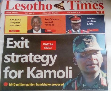 Lesotho Times front page_with the story that is said to be at the centre of this shooting